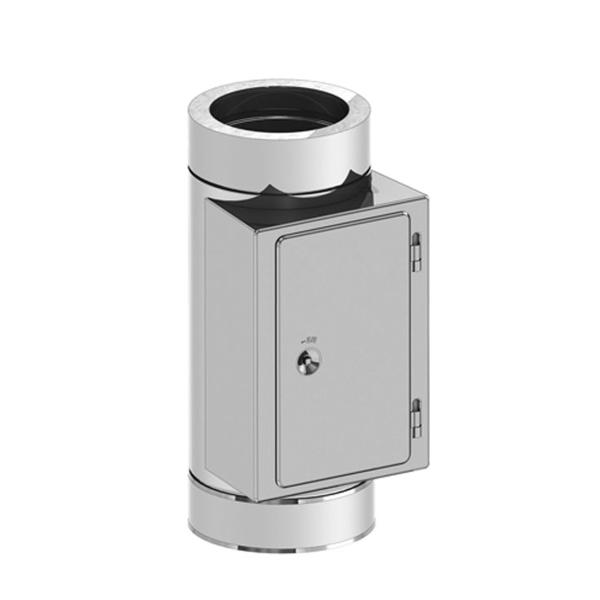 Edelstahlschornstein doppelwandig Reinigungselement mit Tür PROFI-plus Ø 150 mm