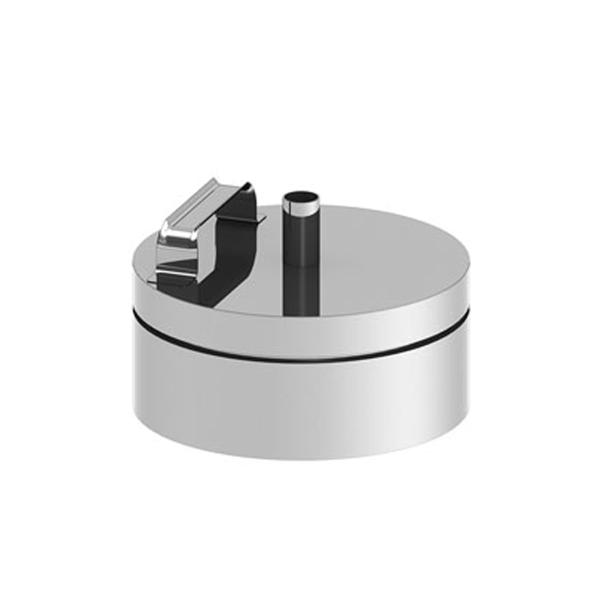 Edelstahlschornstein doppelwandig Verschlussdeckel incl. Schraubstopfen PROFI-plus Edelstahl Ø 130 mm