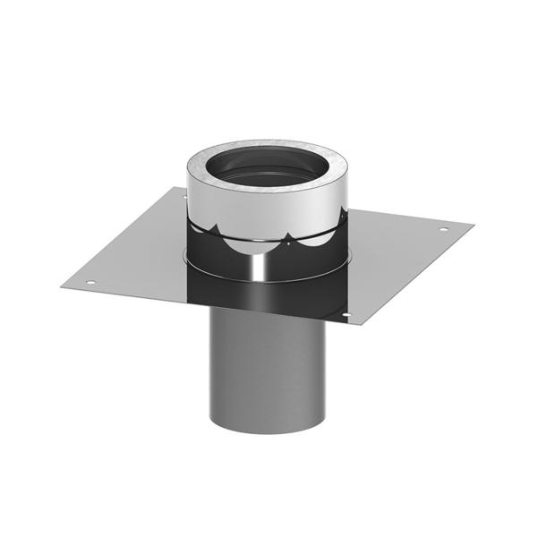 Edelstahlschornstein doppelwandig Grundplatte für Kaminerhöhung PROFI-plus Edelstahl Ø 130 mm